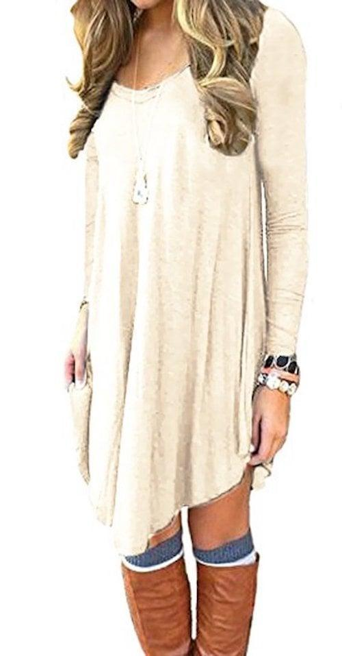 <p>Wear this comfortable <span>Dearcase Long-Sleeve T-Shirt Dress</span> ($19) with tall boots.</p>