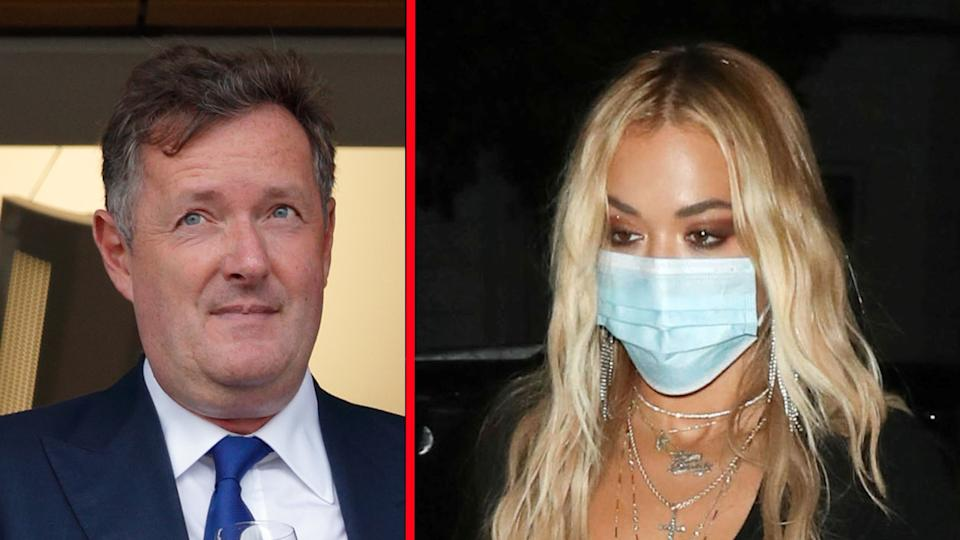 Piers Morgan has ridiculed Rita Ora's apology for breaking lockdown rules. (Getty Imgaes/AP)