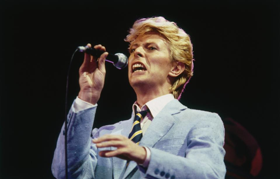 English pop star David Bowie performing, mid 1980s. (Photo by Graham Wiltshire/Getty Images)