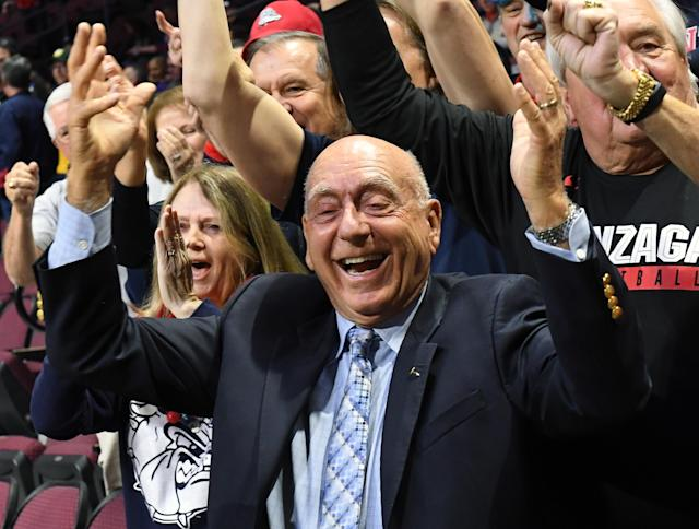 Dick Vitale poses for a picture during a semifinal game of the West Coast Conference basketball tournament. (Getty Images)