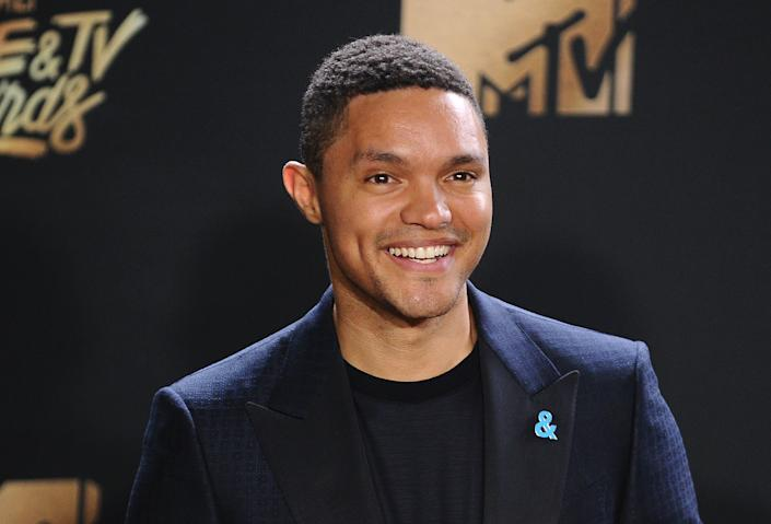 Trevor Noah poses in the press room at the 2017 MTV Movie and TV Awards at The Shrine Auditorium on May 7, 2017 in Los Angeles, California.