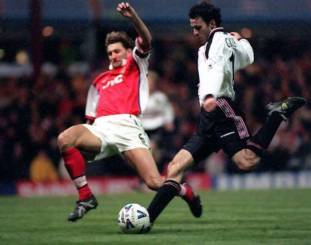 Giggs scores his famous FA Cup goal against Arsenal in 1999. (Dave Jones/PA)
