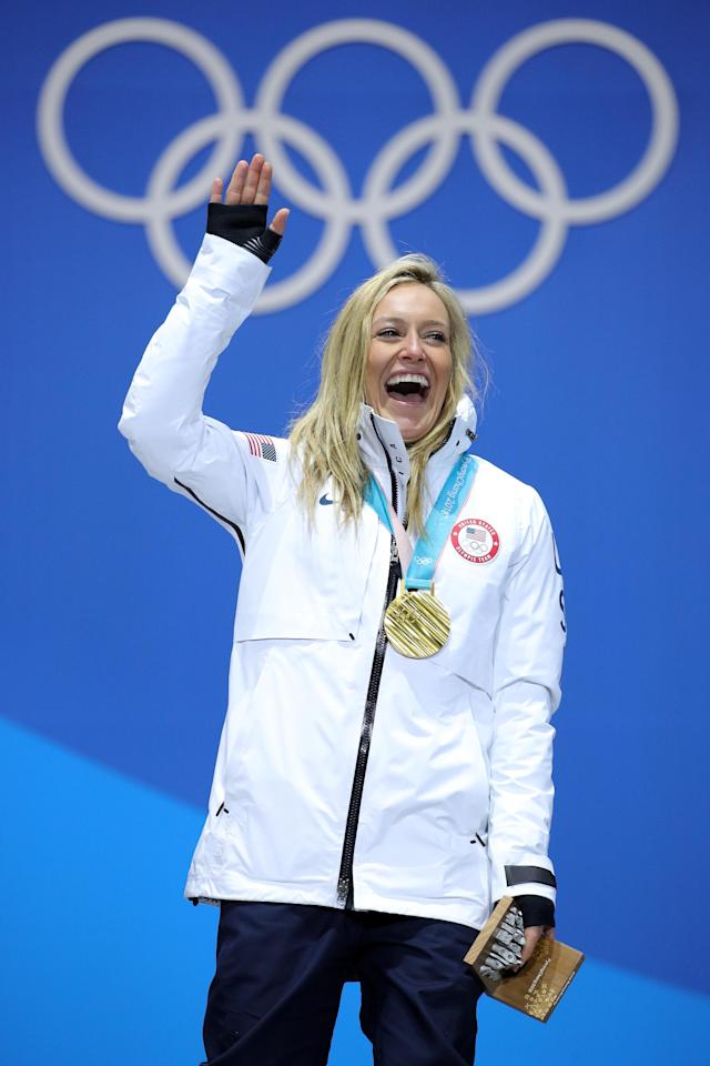 <p>Gold medalist Jamie Anderson of the United States poses during the medal ceremony for Snowboard Ladies' Slopestyle at Medal Plaza on February 12, 2018 in Pyeongchang-gun, South Korea. (Photo by Andreas Rentz/Getty Images) </p>