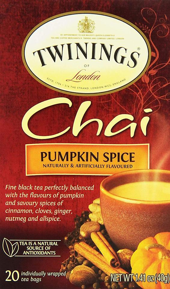 "<p>These <a href=""https://www.popsugar.com/buy/Twinings-London-Pumpkin-Spice-Chai-Tea-Bags-486828?p_name=Twinings%20of%20London%20Pumpkin%20Spice%20Chai%20Tea%20Bags&retailer=amazon.com&pid=486828&price=8&evar1=fit%3Aus&evar9=42306543&evar98=https%3A%2F%2Fwww.popsugar.com%2Ffitness%2Fphoto-gallery%2F42306543%2Fimage%2F46572523%2FTwinings-London-Pumpkin-Spice-Chai-Tea-Bags&list1=shopping%2Camazon%2Challoween%2Cfall%2Chealthy%20snacks%2Chealthy%20living%2Cgrocery%20shopping%2Cpumpkins%2Cpumpkin%20spice&prop13=mobile&pdata=1"" rel=""nofollow"" data-shoppable-link=""1"" target=""_blank"" class=""ga-track"" data-ga-category=""Related"" data-ga-label=""https://www.amazon.com/Twinings-London-Pumpkin-Spice-Count/dp/B0041OQ9CY/ref=sr_1_38?keywords=pumpkin%2Bspice&amp;qid=1567545469&amp;s=gateway&amp;sr=8-38&amp;th=1"" data-ga-action=""In-Line Links"">Twinings of London Pumpkin Spice Chai Tea Bags</a> ($8) are delicious.</p>"