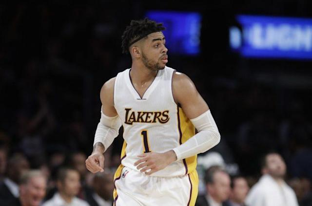 "<a class=""link rapid-noclick-resp"" href=""/nba/players/5433/"" data-ylk=""slk:D'Angelo Russell"">D'Angelo Russell</a> was drafted No. 2 overall by the Lakers in 2015. (AP)"