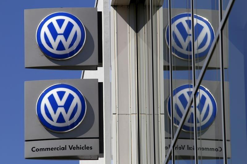 File photo of Volkswagen logos adorning a sign outside a car dealership in Artarmon