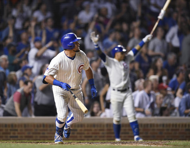 Kyle Schwarber walked it off for the Cubs on Tuesday. (AP Photo/Paul Beaty)