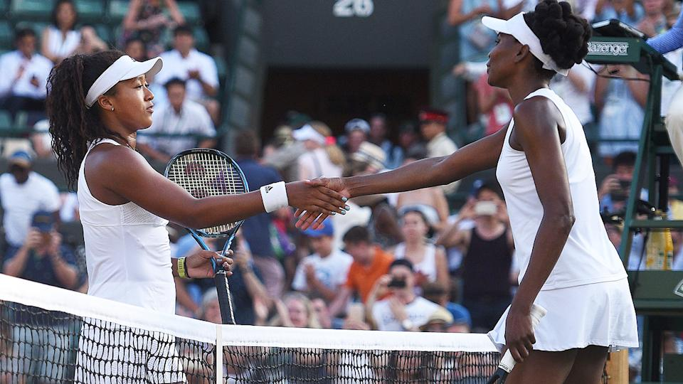 Naomi Osaka and Venus Williams, pictured here at Wimbledon in 2017.