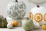 "<p>Press a pretty pattern like toile or any printed image onto a squash for a detailed yet easy look. </p><p><em><a href=""http://www.countryliving.com/diy-crafts/how-to/a4177/decoupage-a-pumpkin/"" rel=""nofollow noopener"" target=""_blank"" data-ylk=""slk:Get the tutorial at Country Living »"" class=""link rapid-noclick-resp"">Get the tutorial at Country Living »</a></em></p>"