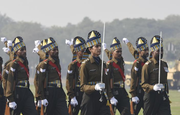 NEW DELHI, INDIA - JANUARY 15: Captain Tania Shergill, the first female officer to lead as parade adjutant for the Republic Day parade, seen during the 72nd Army Day Parade at the Parade Ground Delhi Cantt. on January 15, 2020 in New Delhi, India. (Photo by Vipin Kumar/Hindustan Times via Getty Images)