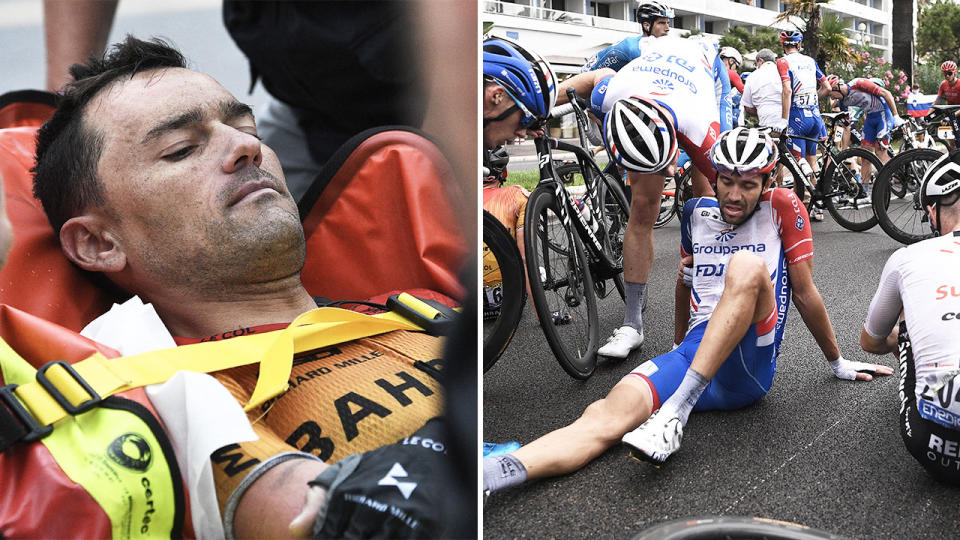 Team Bahrain rider Spain's Rafael Valls stretched off (pictured left) and a number of riders lying on the ground injured (pictured right).
