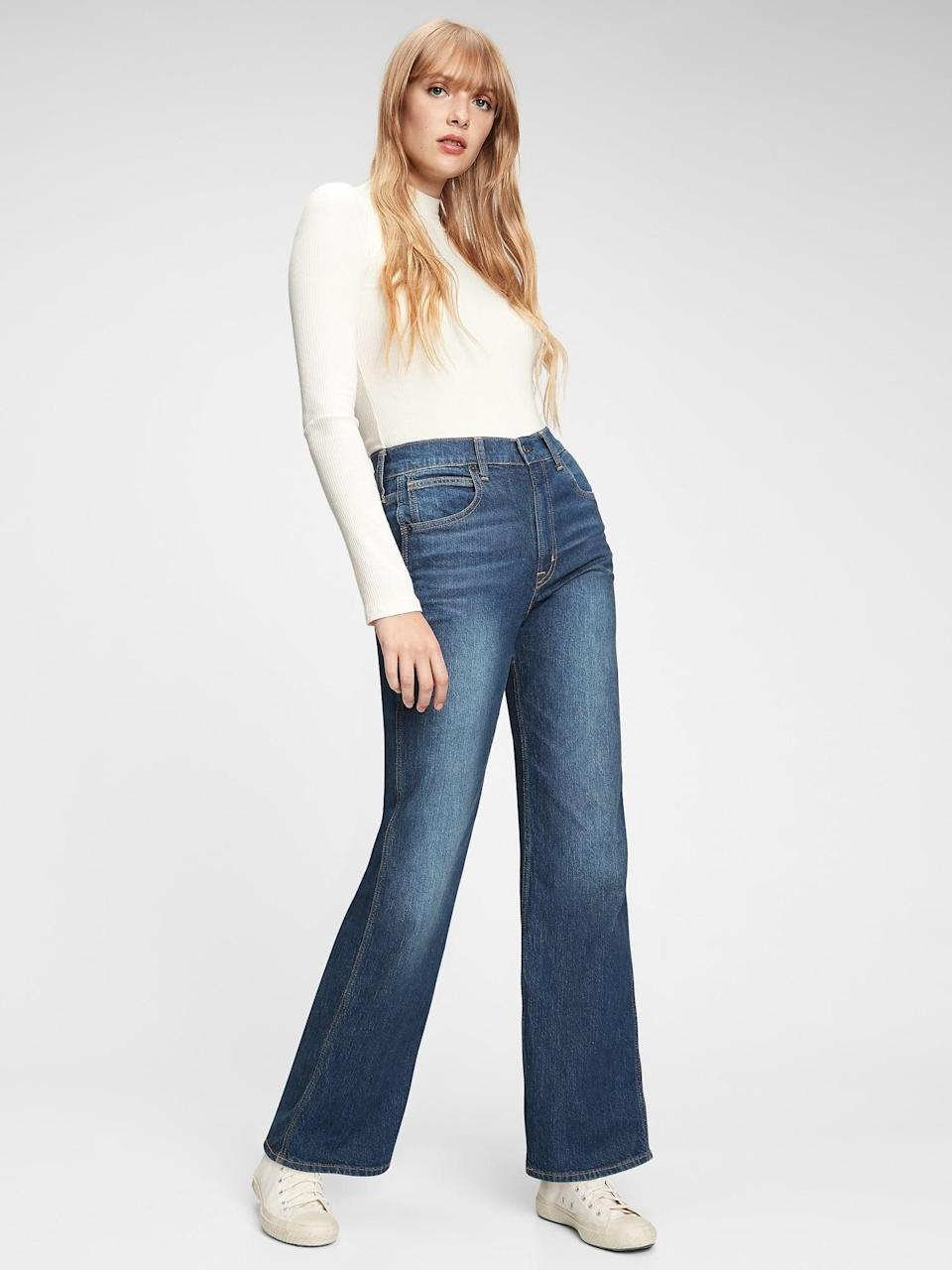 <p>Add a little drama to your everyday look with these comfortable <span>Gap High Rise Vintage Flare Jeans</span> ($80).</p>