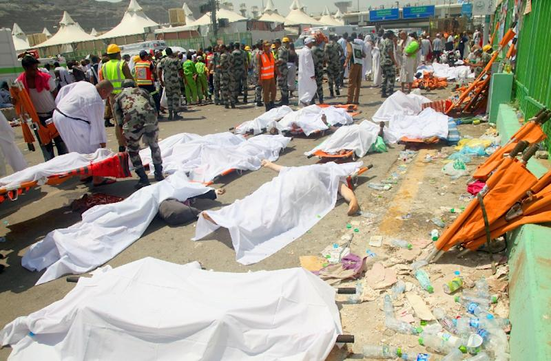 Saudi authorities say 769 hajj pilgrims were killed in the deadly stampede near Mecca, on September 24, 2015 (AFP Photo/)