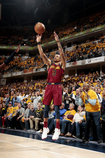 INDIANAPOLIS, IN - APRIL 20: George Hill George Hill #3 of the Cleveland Cavaliers shoots the ball against the Indiana Pacers in Game Three of Round One of the 2018 NBA Playoffs on April 20, 2018 at Bankers Life Fieldhouse in Indianapolis, Indiana. (Photo by Ron Hoskins/NBAE via Getty Images)