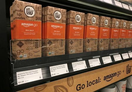 Amazon-branded chocolate bars are seen in the company's convenience store Amazon Go without checkout lines, in Seattle, Washington, U.S., January 18, 2018. Photo taken January 18, 2018. REUTERS/Jeffrey Dastin