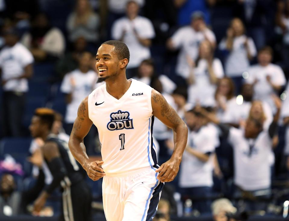Old Dominion's Aaron Bacote heads down the court after a first half 3-pointer against Virginia Commonwealth during an NCAA college basketball game, Saturday, Nov. 29, 2014, in Norfolk, Va. Old Dominion won 73-67. (AP Photo/The Virginian-Pilot, Steve Earley)