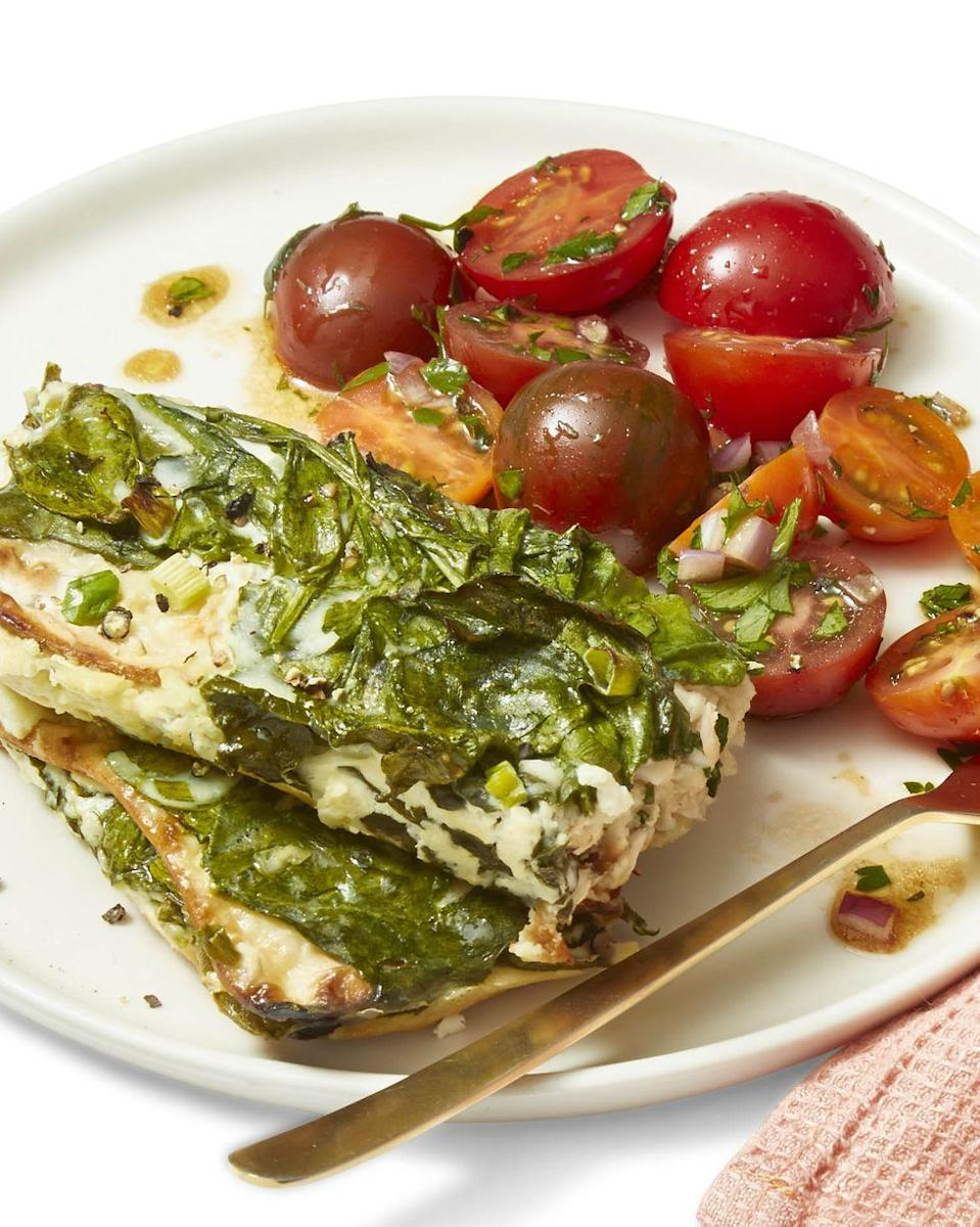 """<p>Make any leftover matzo disappear with a delicious and cheesy spin on lasagna.</p><p><em><a href=""""https://www.womansday.com/food-recipes/food-drinks/a26679088/cheesy-baked-spinach-and-feta-casserole-recipe/"""" rel=""""nofollow noopener"""" target=""""_blank"""" data-ylk=""""slk:Get the recipe from Woman's Day »"""" class=""""link rapid-noclick-resp"""">Get the recipe from Woman's Day »</a></em></p>"""