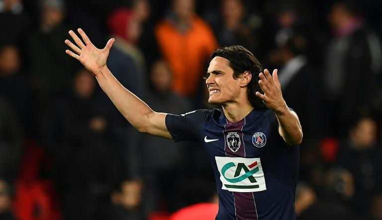 Paris Saint-Germain's forward Edinson Cavani celebrates his goal during the French Cup semi-final match against Monaco April 26, 2017