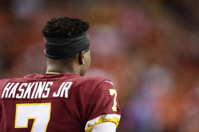 After taking Dwayne Haskins in Round 1, the Redskins might pass on a QB in 2020 ... we think. (Getty Images)