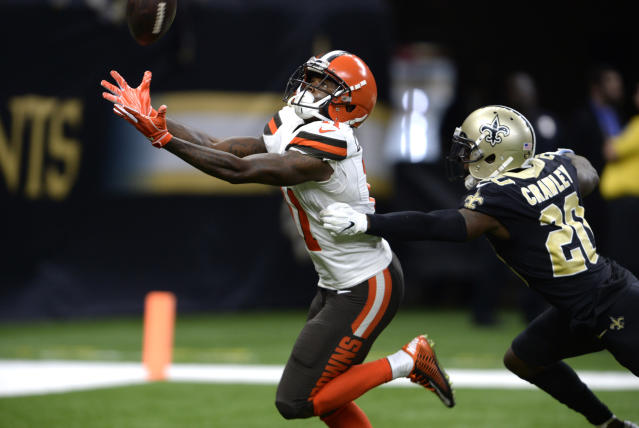Antonio Callaway could become Baker Mayfield's favorite target. (AP Photo/Bill Feig)