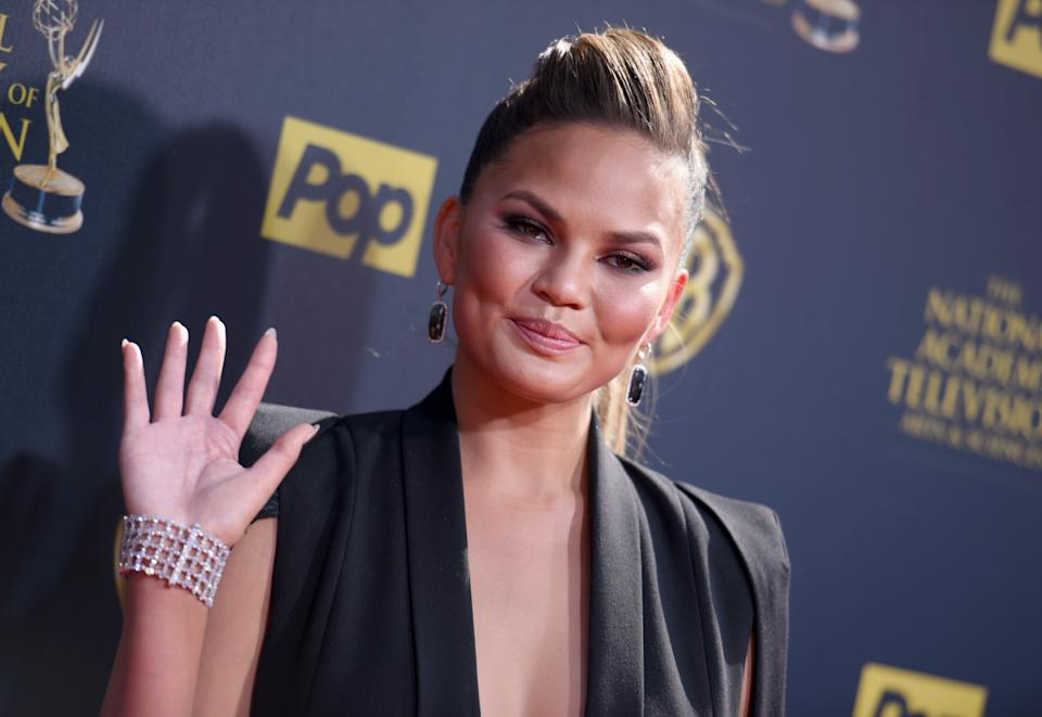 Chrissy Teigen arrives at the 42nd annual Daytime Emmy Awards at Warner Bros. Studios on Sunday, April 26, 2015, in Burbank, Calif. (Photo by Richard Shotwell/Invision/AP)