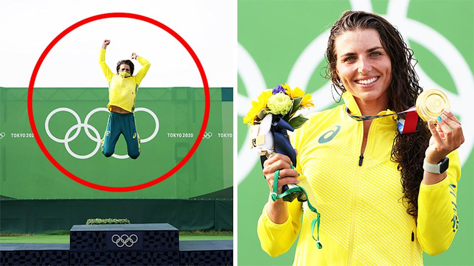 Jess Fox (pictured right) smiling with her gold medal and (pictured left) jumping in the air on the podium in Tokyo.