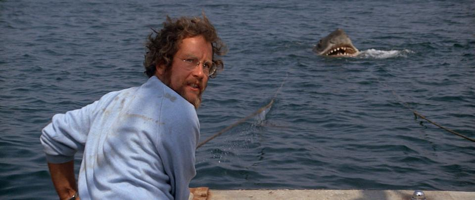 "Richard Dreyfuss tries to do something about the pursuing man-eating shark in ""Jaws."""