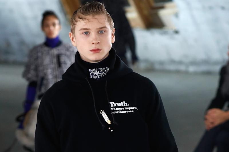 """A creation for Japanese brand Sacai by Chitose Abe bears the message """"Truth. It's more important now than ever"""" (AFP Photo/FRANCOIS GUILLOT)"""