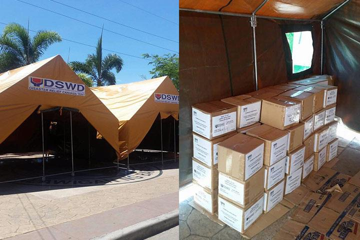 DSWD's Disaster Relief Canvass Tent (Photo from DSWD)