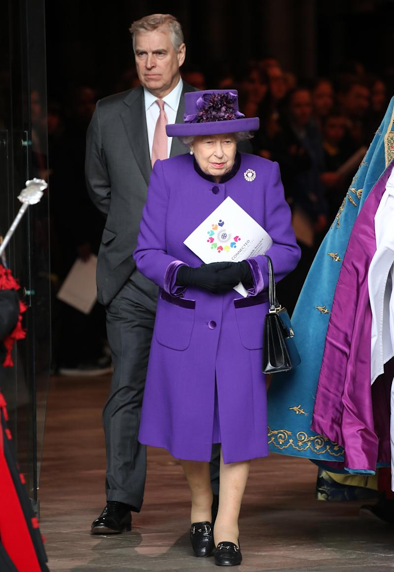 LONDON, ENGLAND - MARCH 11: Prince Andrew, Duke of York and Queen Elizabeth II depart the Commonwealth Service on Commonwealth Day at Westminster Abbey on March 11, 2019 in London, England. The Commonwealth represents 53 countries and almost 2.4 billion people and 2019 marks the 70th anniversary of the modern Commonwealth, enabling cooperation towards social, political and economic development. (Photo by Chris Jackson/Getty Images)