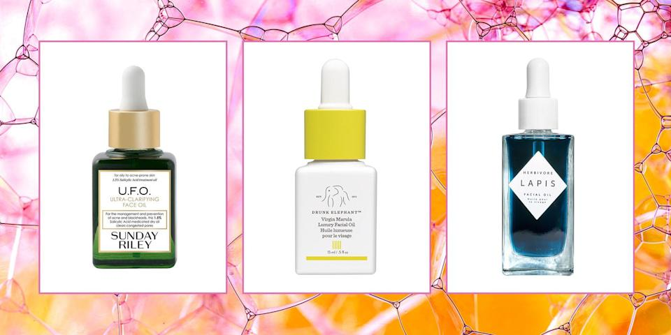 <p>Hi, can I let you in on a little secret? YOU NEED TO BE USING A FACE OIL. Sorry to yell, but this is important! I'm sure you've come up with all of the excuses as to why you can't use one-maybe you have oily skin (um, face oil can actually help <em>reduce</em> your shine), or you're acne prone (a good oil can help fight breakouts), or you think your skin's too sensitive for one (it's not)-but guess what? You're wrong.</p><p>Because the right face oil can actually brighten your skin, clear your acne, and keep you moisturized, no matter your skin type. Of course, if you're equally intrigued as you are worried, definitely chat with your derm, first, to see if an oil really is right for you. And then, come right back here, because I went ahead and found the nine best face oils that will change your life-or, at least, your skin.</p>