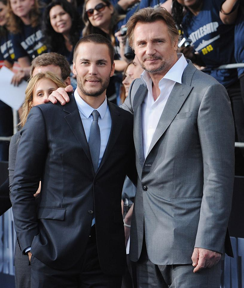 """Taylor Kitsch and Liam Neeson attend the Los Angeles premiere of """"Battleship"""" on May 10, 2012.<br>"""