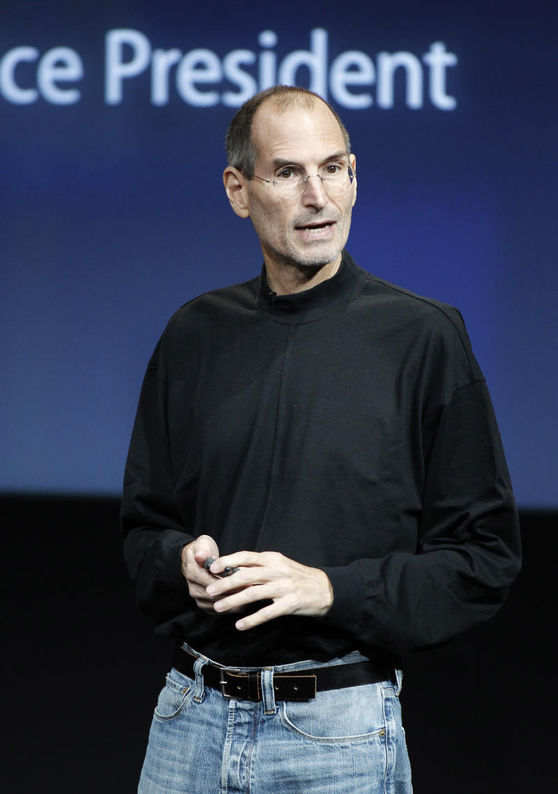 FILE - In an Oct. 20, 2010 file photo, Apple CEO Steve Jobs speaks at an Apple event at Apple headquarters in Cupertino, Calif. Jobs sent a note Monday, Jan. 17, 2011 to employees saying he's taking a medical leave of absence so he can focus on his health.  He says he will continue as CEO and be involved in major decisions but has asked Tim Cook to be responsible for all day-to-day operations.(AP Photo/Tony Avelar, File)