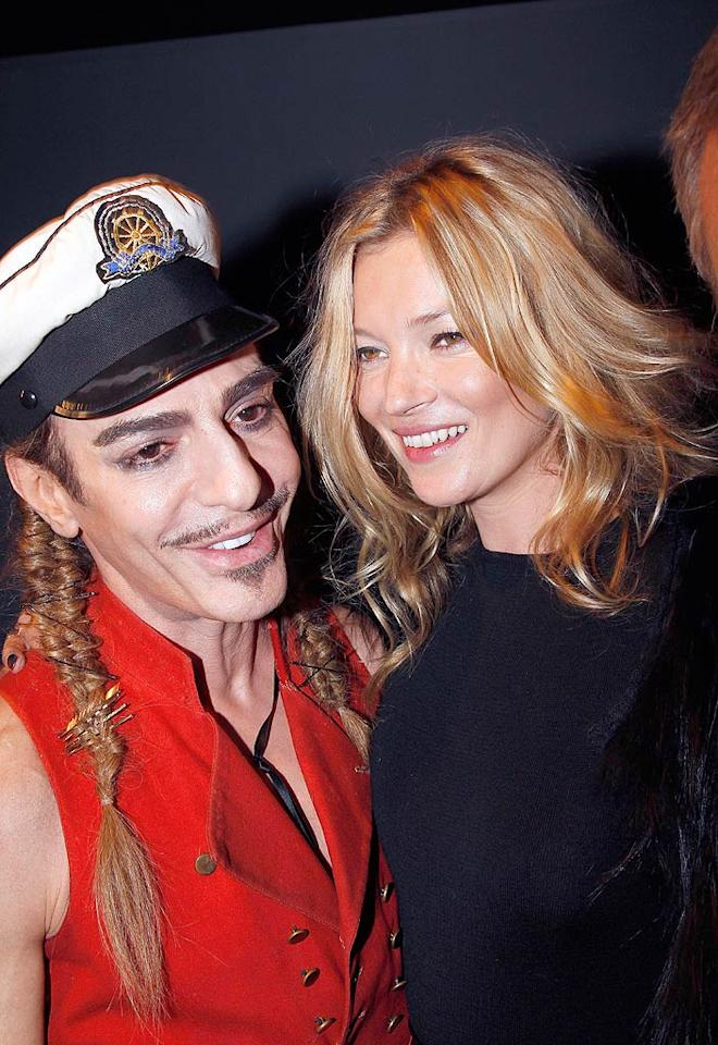 """Over in Paris, Christian Dior designer John Galliano -- sporting one of his usual wacky pirate-inspired costumes -- caught up with Kate Moss before his collection launched in the French capital. Eric Ryan/<a href=""""http://www.gettyimages.com/"""" target=""""new"""">GettyImages.com</a> - October 1, 2010"""