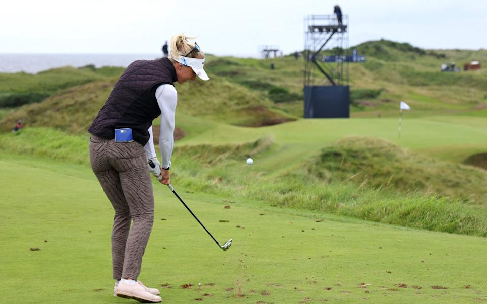 Sophia Popov of Germany tees off the 8th hole at Royal Troon - Getty Images