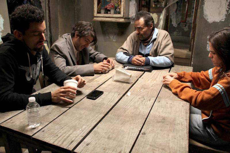 "This undated promotional image released by Warner Bros. Studios shows actors, from left, Luis Gerardo Mendez, Juan Pablo Gil, Gonzalo Vega and Karla Souza in the movie ""Nosotros los Nobles,"" or ""We are the Nobles."" The Mexican riches-to-rags movie has opened to packed theaters in a country with one of the world's widest income gaps, and a love for laughing at misfortune. In Mexico, 10 percent of the people held nearly 40 percent of the wealth in 2010, according to the Economic Commission for Latin America. The world's richest man, Carlos Slim, holds more than 6 percent himself. (AP Photo/Warner Bros. Studios)"