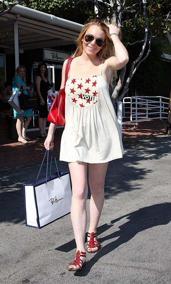 "Lindsay Lohan shows off her patriotic side in an outfit that's ideal for a Memorial Day barbecue. APG/<a href=""http://www.x17online.com"" target=""new"">X17 Online</a> - June 21, 2008"