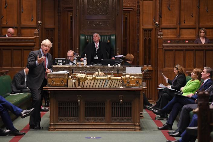 Britain's Prime Minister Boris Johnson makes a statement on the coronavirus disease (COVID-19) in the House of Commons, in London, Britain September 22, 2020. UK Parliament/Jessica Taylor/Handout via REUTERS THIS IMAGE HAS BEEN SUPPLIED BY A THIRD PARTY. MANDATORY CREDIT. IMAGE MUST NOT BE ALTERED