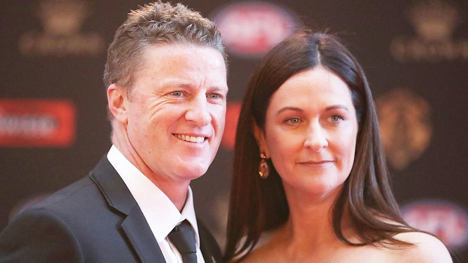Seen here, Damien Hardwick and his wife Danielle at the 2017 Brownlow Medal ceremony.