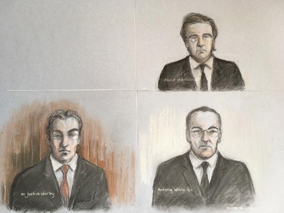 """Court artist sketch by Elizabeth Cook of Mr Justice Warby (bottom left) Antony White QC, for Associated Newspapers (bottom right) and David Sherborne the lawyer representing the Duchess of Sussex, during a virtual High Court hearing in the first stage of Meghan's legal action against a British newspaper over its publication of a """"private and confidential"""" letter to her estranged father."""