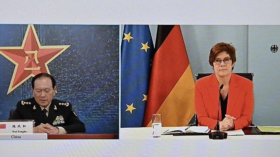General Wei Fenghe and Annegret Kramp-Karrenbauer meet by video link on Tuesday. Photo: Twitter