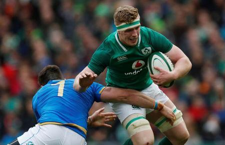 Rugby Union - Six Nations Championship - Ireland vs Italy - Aviva Stadium, Dublin, Republic of Ireland - February 10, 2018 Ireland's Dan Leavy in action with Italy's Braam Steyn REUTERS/Russell Cheyne