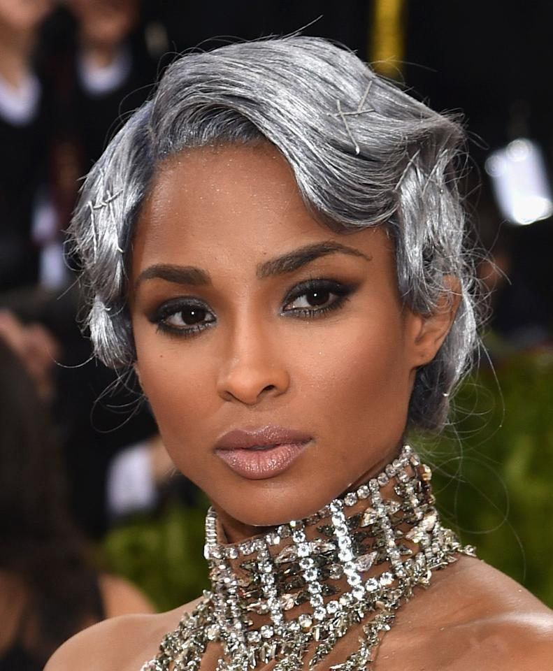 <p>Long live the 2016 Met Gala, when Ciara won the red carpet with the metallic finger waves of my dreams. Her silver hair is shining so bright! </p>