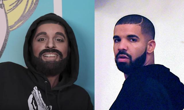 Lilly Singh was transformed into Drake. (Photo: YouTube/BackGrid)