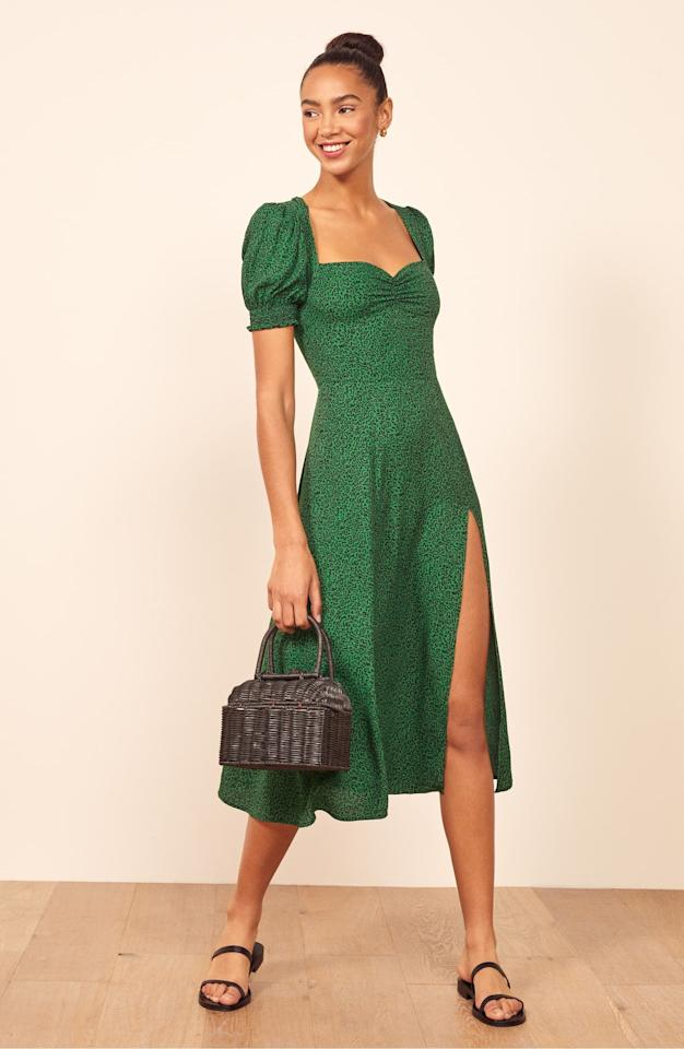 """<p>I adore the silhouette of this <a href=""""https://www.popsugar.com/buy/Reformation-Lacey-Smocked-Sleeve-Dress-489222?p_name=Reformation%20Lacey%20Smocked%20Sleeve%20Dress&retailer=shop.nordstrom.com&pid=489222&price=248&evar1=fab%3Aus&evar9=46067357&evar98=https%3A%2F%2Fwww.popsugar.com%2Fphoto-gallery%2F46067357%2Fimage%2F46598026%2FReformation-Lacey-Smocked-Sleeve-Dress&list1=shopping%2Cnordstrom%2Cfall%20fashion%2Cdresses%2Cfall%2Cspring%20fashion%2Csummer%20fashion&prop13=api&pdata=1"""" rel=""""nofollow"""" data-shoppable-link=""""1"""" target=""""_blank"""" class=""""ga-track"""" data-ga-category=""""Related"""" data-ga-label=""""https://shop.nordstrom.com/s/reformation-lacey-smocked-sleeve-dress/5376558?origin=category-personalizedsort&amp;breadcrumb=Home%2FWomen%2FClothing%2FDresses&amp;color=emerald"""" data-ga-action=""""In-Line Links"""">Reformation Lacey Smocked Sleeve Dress</a> ($248).</p>"""