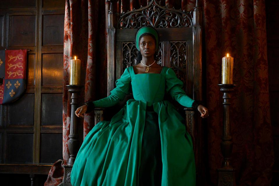 <p>Jodie Turner-Smith as Anne Boleyn in Channel 5's new series</p> (Parisa Taghizadeh)
