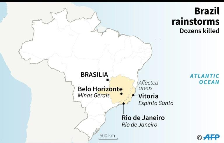 Map showing areas most affected by deadly rainstorms in Brazil