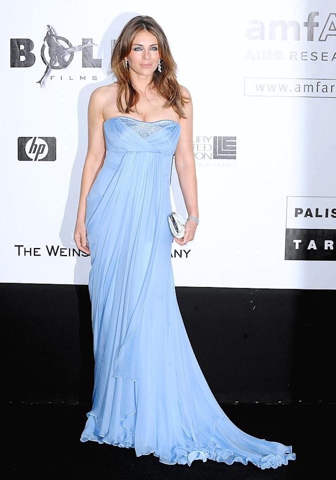 "Elizabeth Hurley dazzled in a dusty blue gown. The model-turned-actress gave up her film career to raise her son, but recently revealed she's planning a comeback. Dominique Charriau/<a href=""http://www.wireimage.com"" target=""new"">WireImage.com</a> - May 21, 2009"