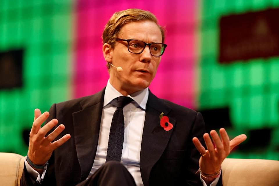 Alexander Nix speaks during the Web Summit, Europe's biggest tech conference, in Lisbon, Portugal, in November 2017 (REUTERS/Pedro Nunes)