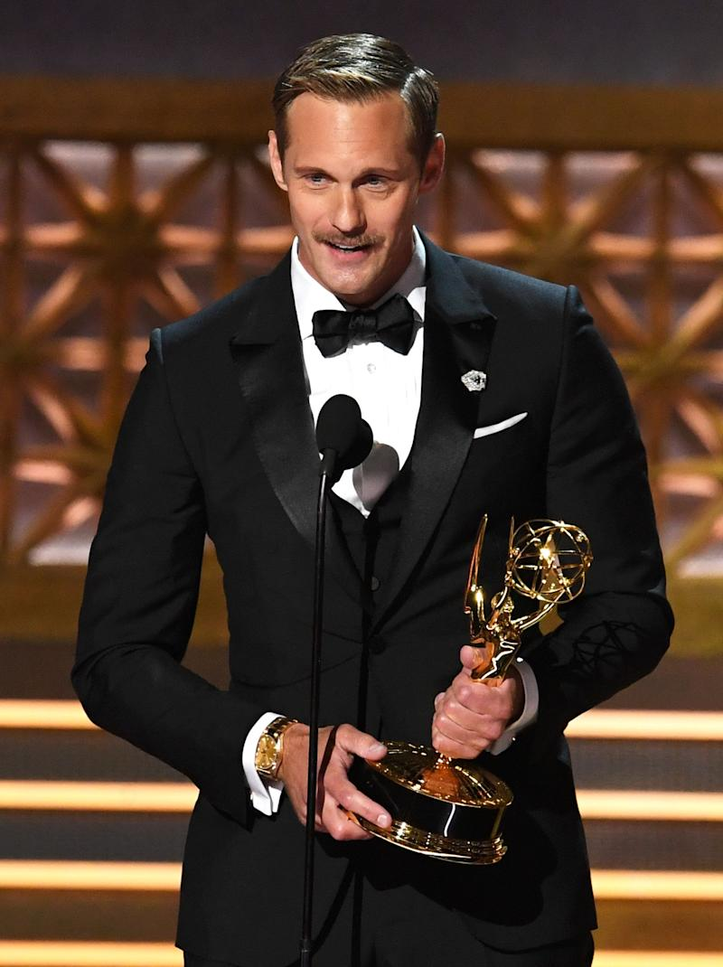 "Actor Alexander Skarsgard accepts Outstanding Supporting Actor in a Limited Series or Movie for ""Big Little Lies"" onstage during the 69th Annual Primetime Emmy Awards at Microsoft Theater on Sept. 17, 2017 in Los Angeles, California."